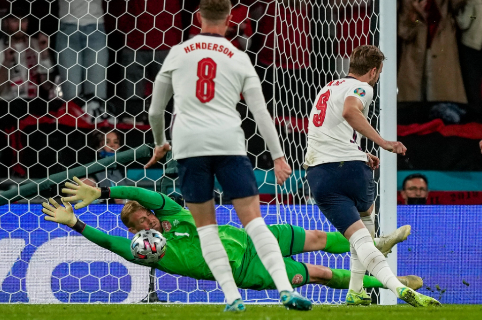 Superiour England eliminating Denmark with the help of a penalty that was no penalty